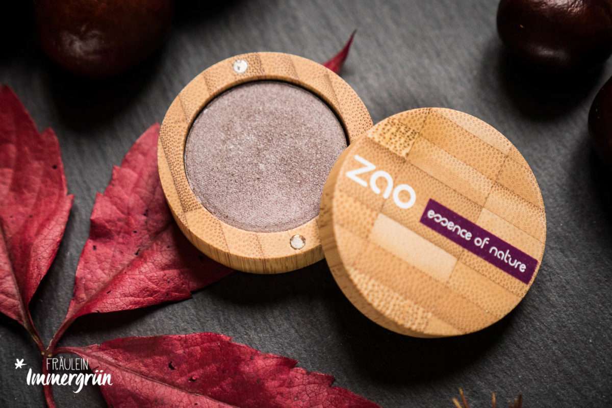 Zao – natürliches Makeup, vegan: Lipstick Plum: Eyeshadow Pearly Brown Grey
