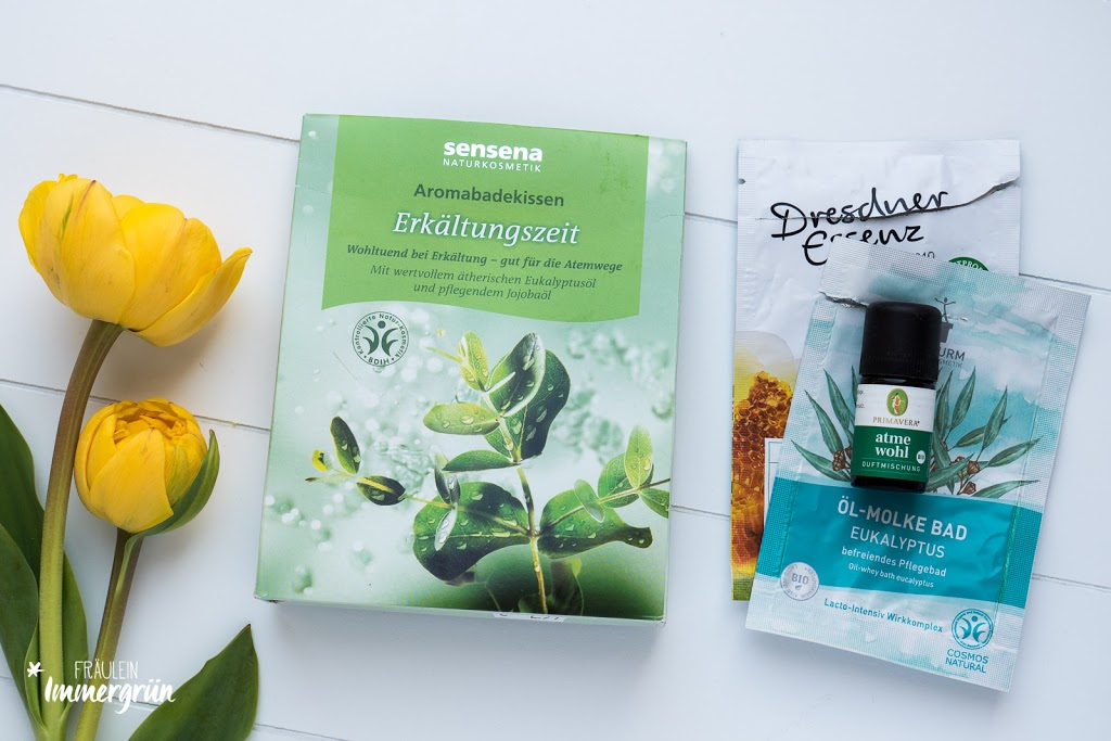 Sensena Aromabadekissen Erkältungszeit + Dresdner Essenz Flüssigbad Abwehrkräfte + Bioturm Öl-Molke Bad Eukalypthus, Primavera Atme Wohl Duftmischung