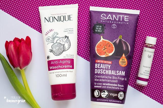 Kurz-Review von  Nonique Anti-Aging Waschcreme, Sante Beauty Duschbalsam Orientalische Bio-Feige & Macadamianussöl, Dr. Hauschka Mandelbad (Reisegröße)