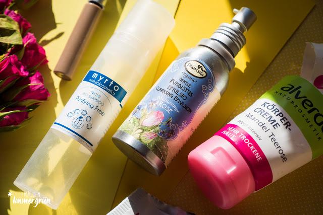 Alverde Augenbrauengel, Myrto Purifying Shampoo, Frantsila Gentle Cleansing Emulsion, Alverde Körpercreme Mandel Teerose