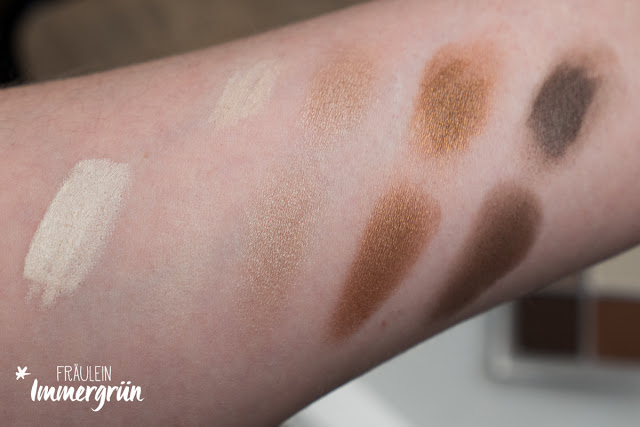 Purobio Kajal Ivory, Benecos Eyeshadow Quattro Coffee & Cream Swatches