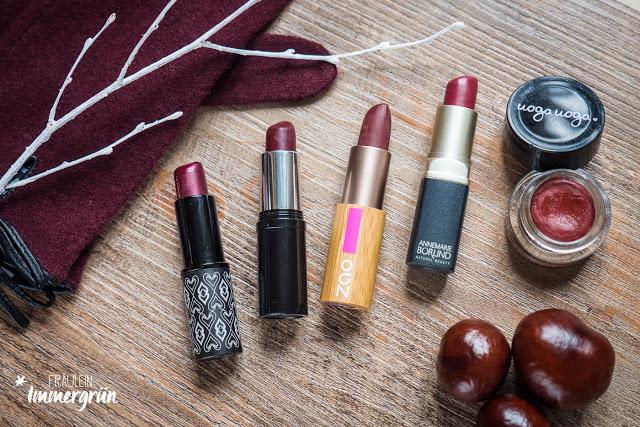 Herbstliche Beerentöne auf den Lippen mit diesen Naturkosmetik Lippenstiften