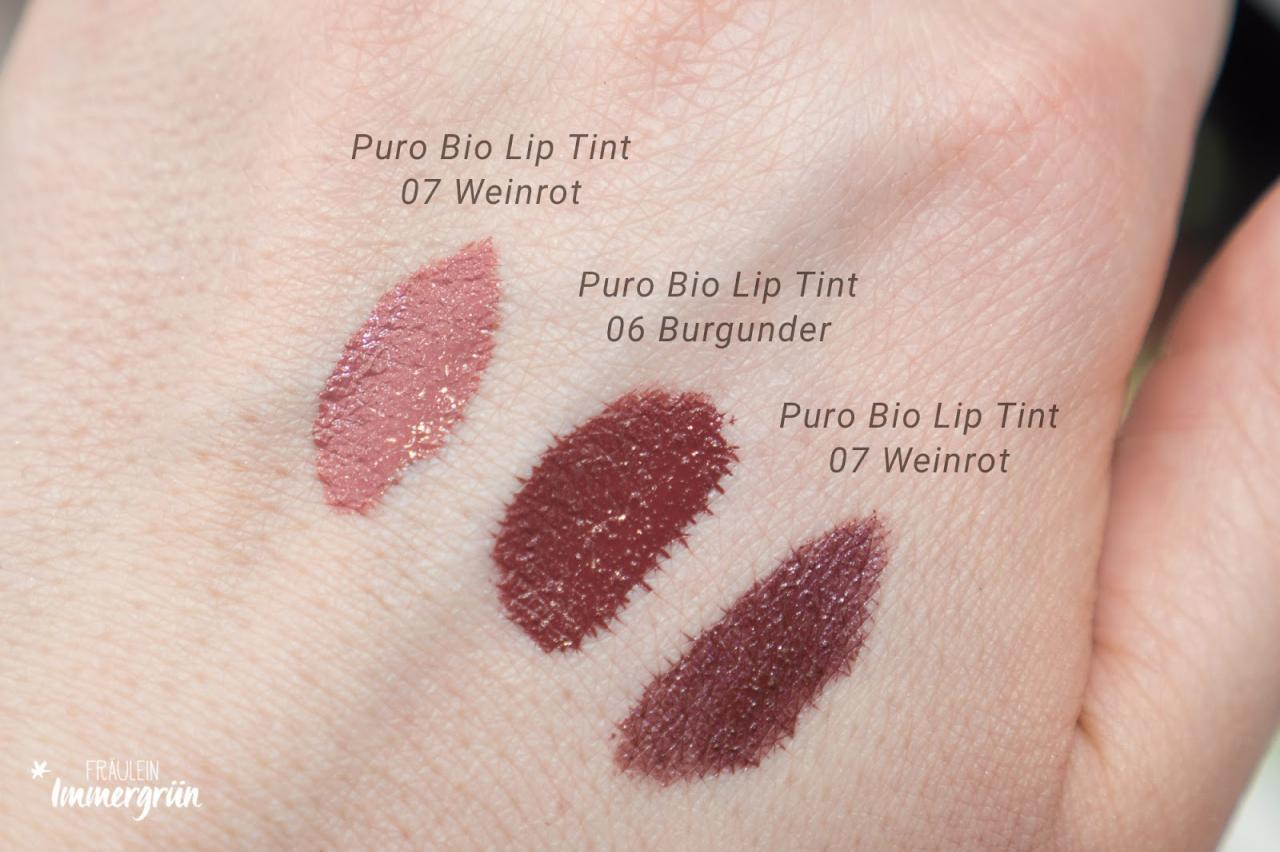 PuroBio Swatched Lip Tints