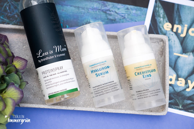 Less is More Proteinspray, Cremekampagne Hyaluronserum + Cremefluid Eins