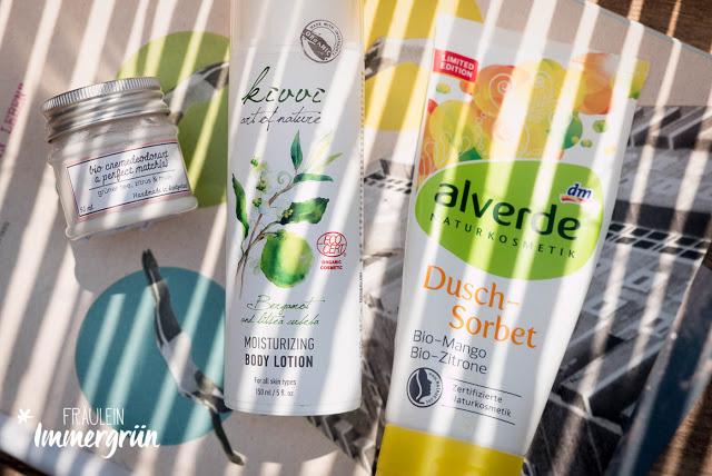 Ponyhütchen Deocreme A Perfect Matcha, Kivvi Bergamotte and Litsea Cubeba Moisturizing Body Lotion, Alverde Dusch-Sorbet Bio-Mango und Bio-Zitrone