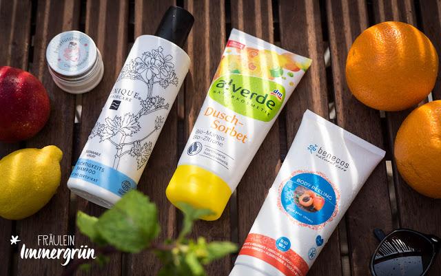 Benecos Body Peeling Aprika und Holunder, Alverde Duschsorbet Bio-Mango und Bio-Zitrone, Ponyhütchen Deocreme Rock'a'Hula, Unique Feuchtigkeitsshampoo