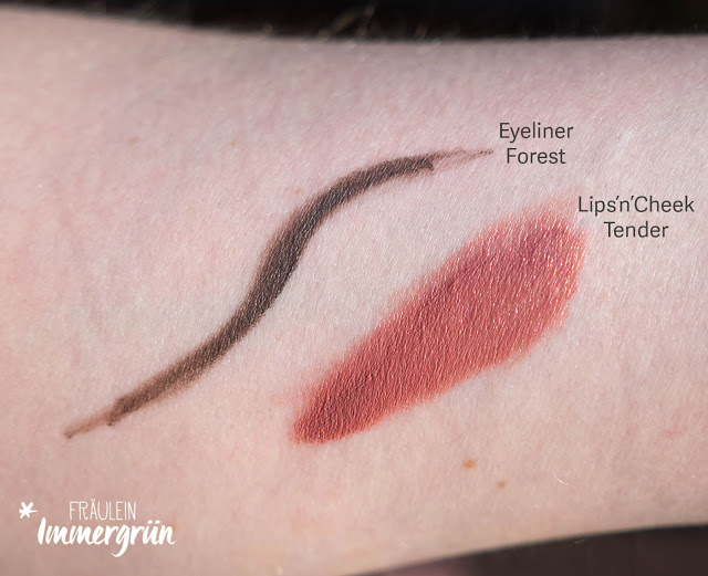 Uoga Uoga Eyeliner Forest Path, Uoga Uoga Lips'n'Cheeks Tender Swatches