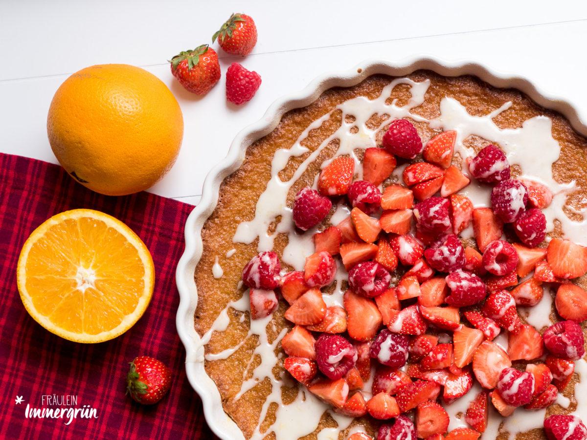 Fruchtiger und saftiger Mandelkuchen mit Orangen – Tarte de Amêndoa