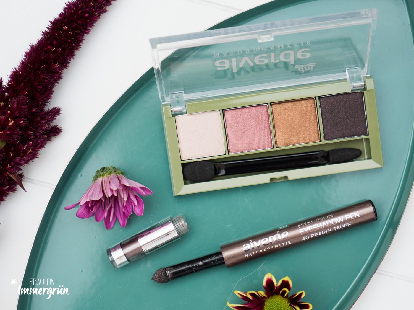 DM Alverde Neuigkeiten Herbst 2018 - vegane Naturkosmetik aus der Drogerie Pecision Eyeshadow Pen Taupe und Lidschatten Quattro Expressive Eyes