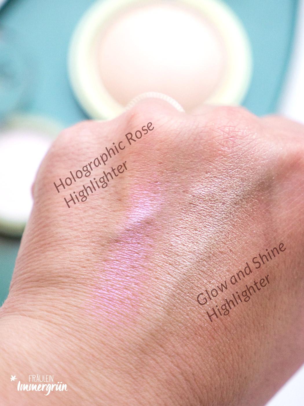 DM Alverde Neuigkeiten Herbst 2018 - vegane Naturkosmetik aus der Drogerie Holographic Rose Highlighter und Glow and Shine Highlighter