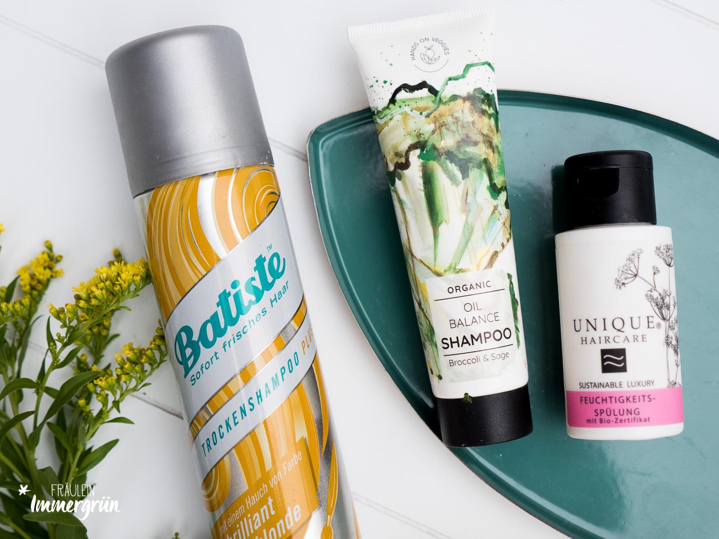 Naturkosmetik aufgebraucht: Kurz Reviews von milder Gesichtspflege und Hautpflege. Natürliche Kosmetik mit Hands on Veggies Oil Balance Shampoo, Unique Feuchtigkeitsspülung.