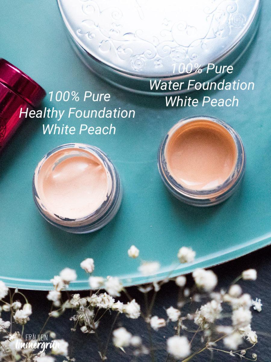 100% Pure – vegane Naturkosmetik, Healthy Foundation und Water Foundation in White Peach